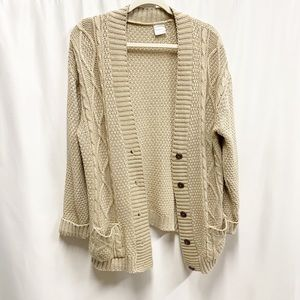 Oversized Tan Chunky Cable Knit Cardigan Sweater